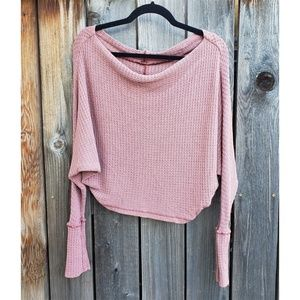 Free People Blush Cropped Ling Sleeve Thermal Top